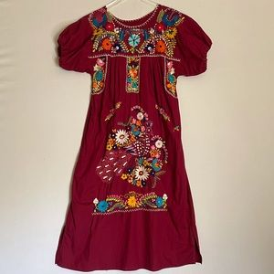 Tradition Embroidered Floral Peacock Mexican Dress